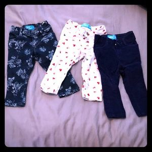 3 pairs of baby girl skinny jeans jeggings pants
